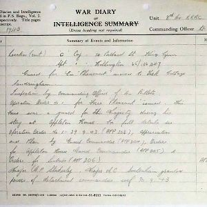 8th Bn The Kings Royal Rifle Corps (Queen Victoria's Rifles).  War Diaries May-Sep 1943