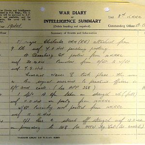 8th Bn The Kings Royal Rifle Corps (Queen Victoria's Rifles).  War Diaries Jul-Dec 1944.
