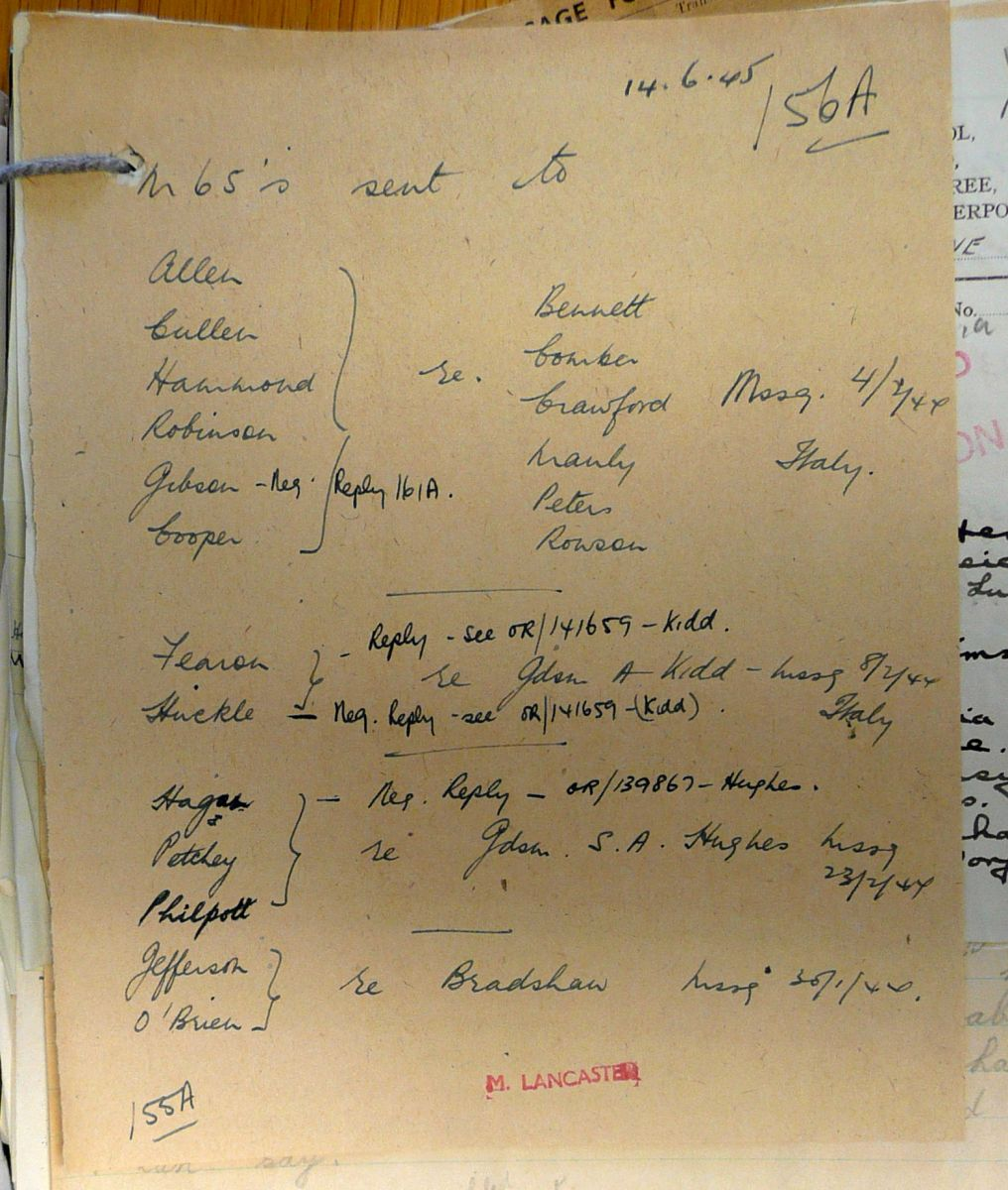 1st Battalion Irish Guards, Italy, Missing Personnel file
