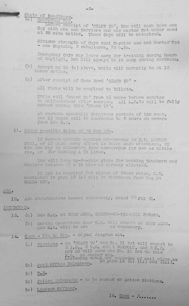 August 1941 War Diary, 20 Guards Brigade, Headquarters