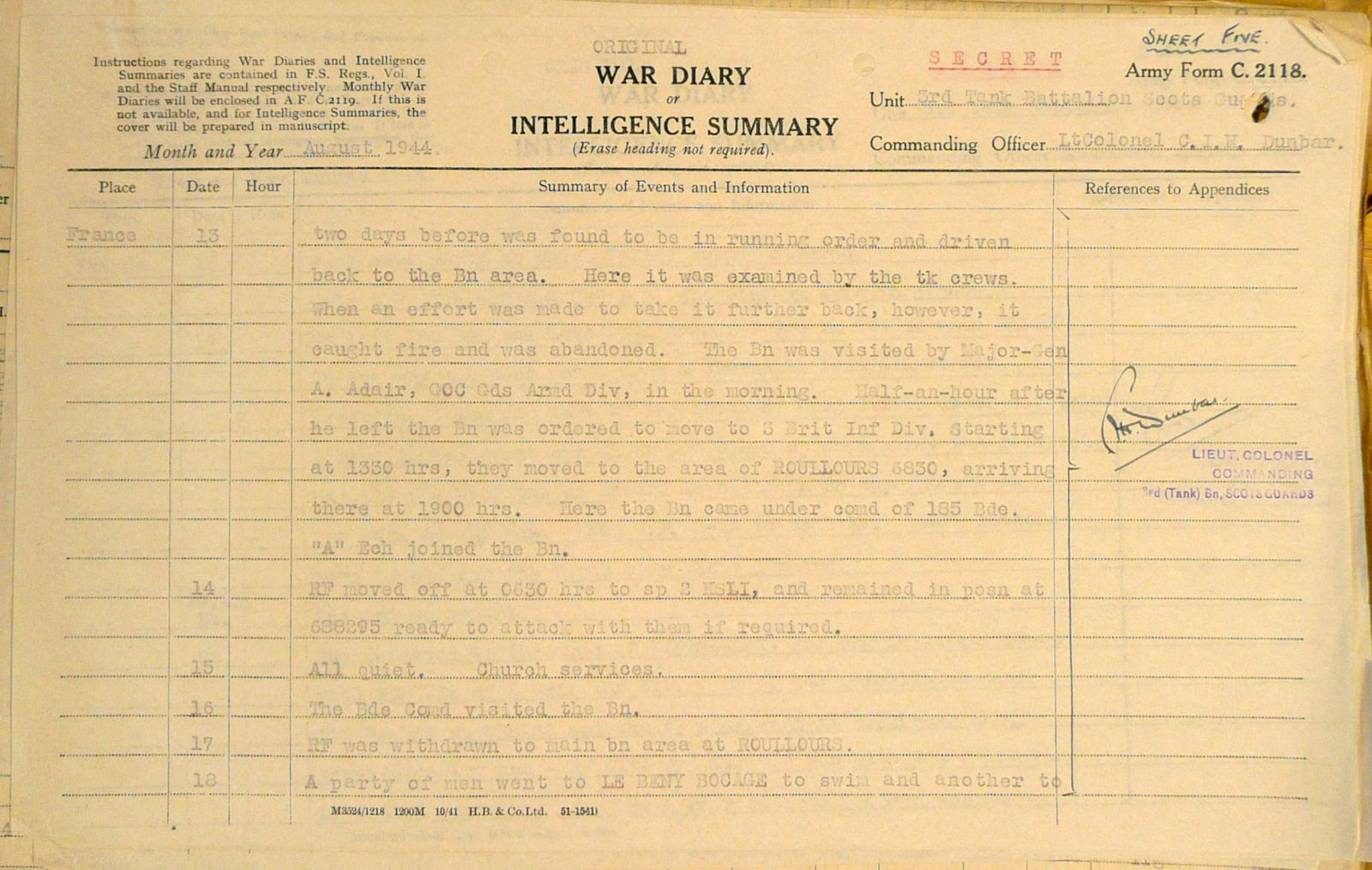 August War Diary, 3 Tank Battalion Scots Guards 1944