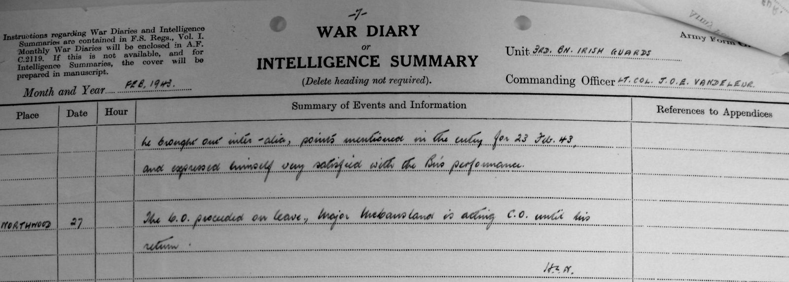 February War Diary, 3 Irish Guards, 1943