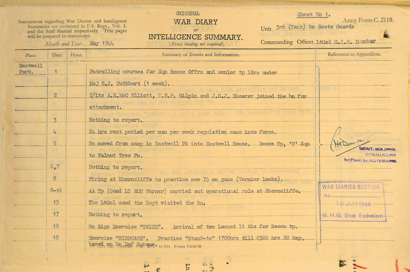 May War Diary, 3 Tank Battalion Scots Guards 1944