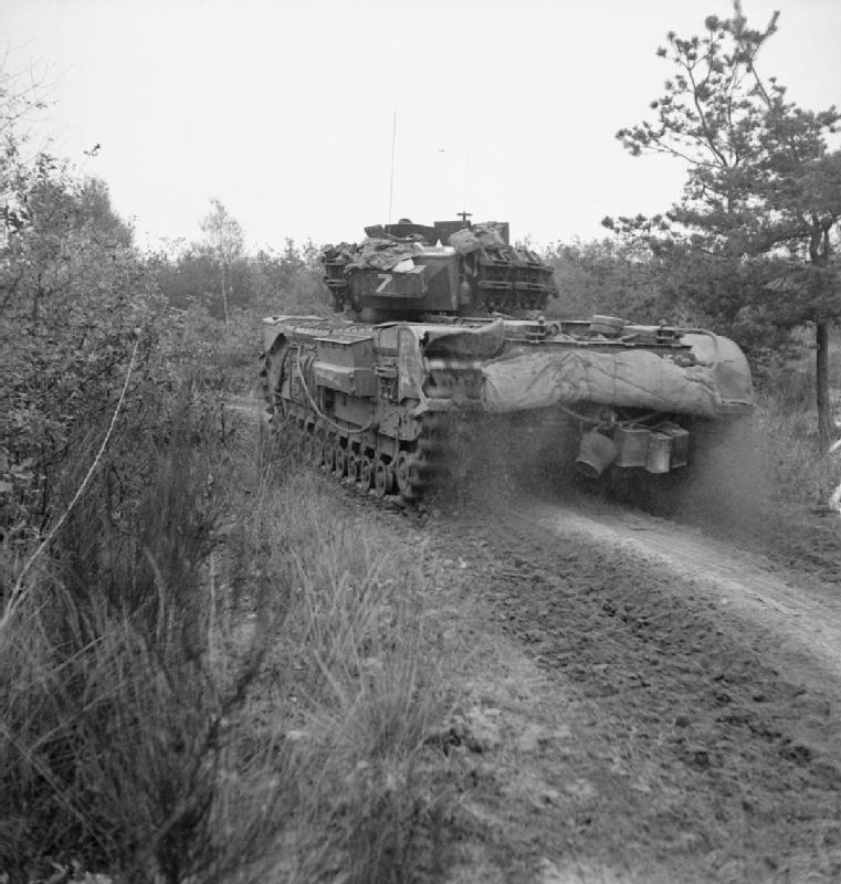 Object description Churchill tank of 4th Grenadier Guards, advance on Liesel, 1 November 1944; IWM B 11569
