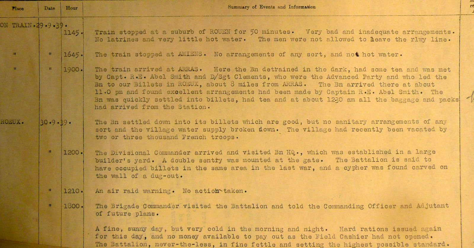 September 1939 War Diary, 3rd Battalion, Grenadier Guards