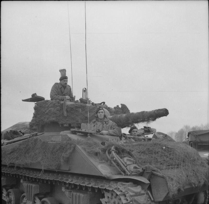 Sherman command tank of Lt-Col R F S Gooch, CO of 1st (Armoured) Coldstream Guards, 1 April 1945; IWM BU 3128
