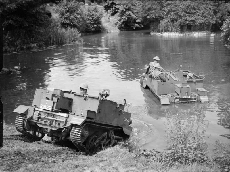 Universal carriers of the Welsh Guards fording a stream, 13 July 1940, IWM H 2208